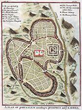 MAP ANTIQUE CITY PLAN JERUSALEM PALESTINE ART POSTER PRINT LV2092