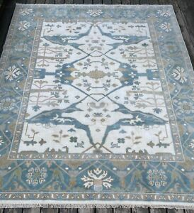 Fine Quality Modern Oushak Rug Handmade in India, White & Blue, Soft Pile, 8x10