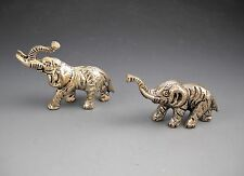 Miniature Silvertone Metal Pair of Elephants with Trunk Raised One with Tusks