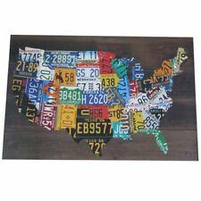 Wooden USA License Plate Map Pub Bar Wall Art Wood U.s.a. Auto Car Tag Plates