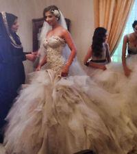 Luxury Long Train Beads Mermaid Bridal Gown Wedding Dress Custom Plus Size 2-28