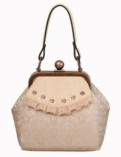 Banned Steampunk Victorian Flocked Ivy Floral Lace Copper Handbag Cream Ivory