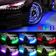 4pcs Multicolor LED Neon Glow Strip Under Car Light Tube Underbody Kit Fit BMW