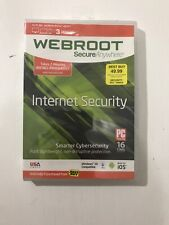 Webroot Secure Anywhere Internet Security (3 Devices) PC, Mac, Mobile New Sealed