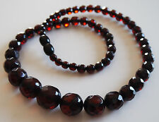 Vintage Style Cherry Color Faceted Beads Genuine Baltic Amber Necklace 17gr