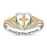 "Two Tone Lucky Cross Heart Ring ""All Things Are Possible"" Fashion Jewelry Gift"