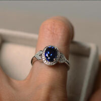 1.65 Ct Oval Natural Diamond Blue Sapphire Engagement Ring 14K White Gold Rings