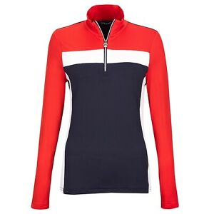 NWT Golfino Ladies PT 1 Troyer Golf top 4330522 575 red white blue 2 4 6 8 10 12