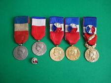 5 MEDAILLES du TRAVAIL  par Borrel 1913 à 1989 + Rosette - FRENCH Silver Medals