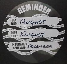 Road Tax, MOT and Insurance Due reminder windscreen sticker disc x2 (169-01)