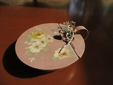 Vintage Antique Toleware HandPainted Floral Silent Butler Rose Pink Shabby Chic