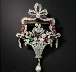 Antique Ruby Pearl & Diamond 14K YellowGold Over Flower Basket Brooch Pin 6.25Ct