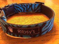 Electric Blue Zebra Adjustable Dog Collar