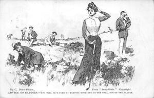 ADVICE TO CADDIES GOLF ROMANCE ENGLAND BIKE & GOLF MESSAGE GIBSON POSTCARD 1905