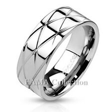 FAMA 8mm Stainless Steel Diamond Cut Grooved Polished Band Ring Size 9-14
