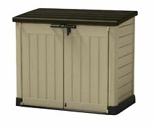 Keter 17199416 Outdoor Plastic Garden Storage Shed Patio Supplies - Beige/Brown