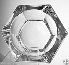 VAL ST LAMBERT CIGAR/CIGARETTE HEAVY CLEAR MID-CENTURY SIGNED CRYSTAL ASHTRAY