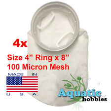 """4x Filter Sock 4"""" Ring x 8"""" 100 Micron Mesh Polyester Quality Bag Made in USA"""