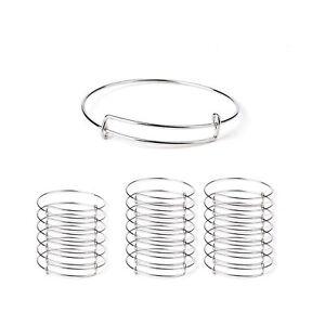20pcs-Women's Expandable Blank Bangle Adjustable Wire Bracelet for DIY Jewelr...