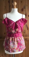 WAREHOUSE Top Hot Pink Floral Silk Tie-Back Vest Camisole Ruffle Summer 10 12
