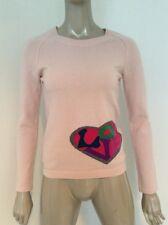 Sonia By Sonia Rykiel Women's Cashmere Cotton Pink Crewneck Sweater Love Heart M
