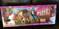 "Barbie Pink Passport Horse Ranch & Barbie, Stacie, Chelsea ""2015 NEW"" by MATTEL"