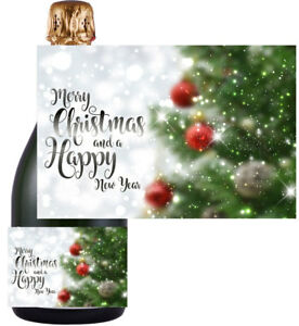 Christmas Xmas Sticker / Bottle Labels to fit champagne style bottle (5 designs)