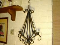 Vintage WROUGHT IRON 4-LIGHT Candle Holder CHANDELIER