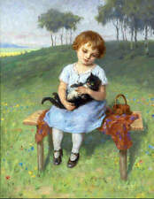 Little Girl with Cat by Simon Glucklich