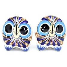 Ceramic Painted Owl Salt & Pepper Shaker Set Shakers Handmade in Guatemala