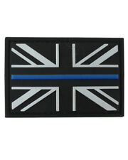Thin Blue Line Police Velcro Union Jack Rubber Patch Hook & Look Tactical UK