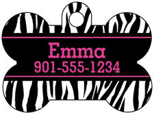 Personalized Animal Print Pet Id Dog Tag, Zebra Print w/ Name and Number
