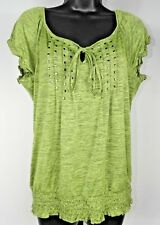 Speechless Women's Green Studded Short Sleeve Blouse Shirt Junior's Size XL