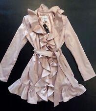 NEW bebe pink ruffle belt satin top dress flare trench coat jacket XS 0 2 sexy