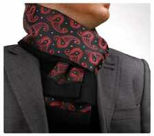 Brand New Mens Double Side Scarf Silk Wool Blend Black with Red Paisley Design