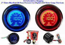 "2"" 52mm Blue/Red Oil Press Pressure Car Digital LED Meter Gauge Tint Lens US"