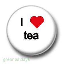 I Love / Heart Tea 1 Inch / 25mm Pin Button Badge Coffee Green Oolong Jasmine