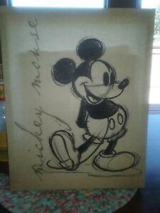 "Disney Hobby Lobby sign MICKEY MOUSE Canvas 14"" x 11"" classic black & white"