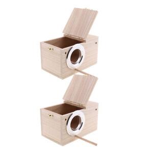 2-Pack Budgie Parakeet Wood Breeding Nest Box Bird Nesting Aviary w/Stick _S