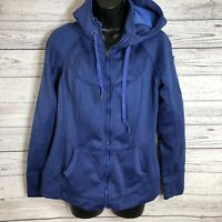 TANGERINE Women's Purple Striped Zip up light fleece lined Jacket Hooded Size M