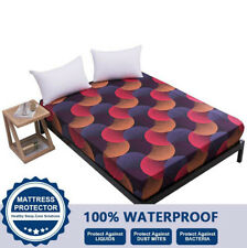 Floral Printed Waterproof Mattress Cover Fitted Sheet Pad Twin Queen King Size