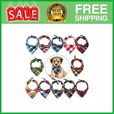 12 Pieces Dog Bandanas - Triangle Dog Scarf, Washable Reversible Plaid Style