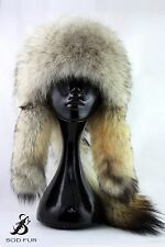 Men's Wolf Fur Hat. Fur Hat With Wolf Tail. Mongolian Warrior Style