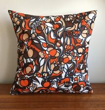 Handmade Cushion Cover: Vintage 1970s Retro Fabric Orange & Brown Floral 16""