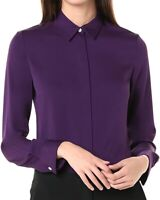 Theory Womens Blouse Plum Purple Size Small S Button Down Fitted $325- 603