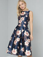 CHI CHI LONDON BETH FLORAL WEDDING PARTY COCKTAIL MIDI DRESS UK 8 10 12 14 16