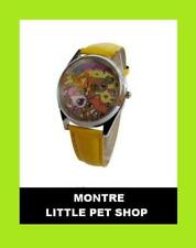MONTRE ANIMAUX CHIEN CHAT LITTLE PET SHOP QUARTZ JAUNE OR CUIR ENFANT FILLE ADO
