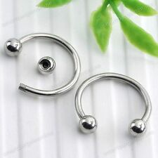 10pc 12mm Silvery Hoop Ball Nose Ring Earring Stud Stainless Steel Piercing Gift