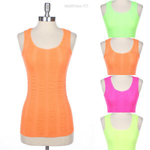 Seamless Neon Sleeveless Ruched Active LineTank Top Stretch Regular Back Span
