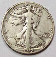 1938-D   WALKING LIBERTY HALF DOLLAR~ KEY DATE Original F++  ~Free U.S.SHIP #2